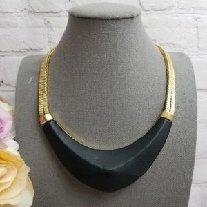 Vince Camuto Black Leather Statement Necklace